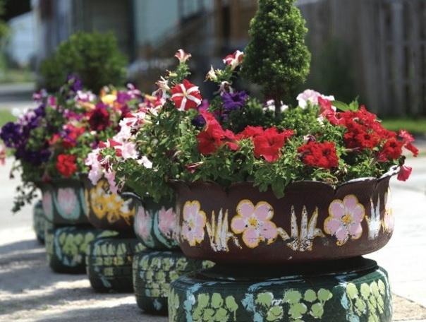 роспись цветников из шин