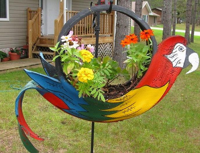 попугай из шин