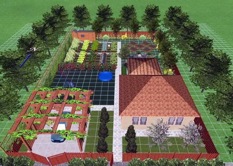 ландшафтный дизайн огорода загородного дома